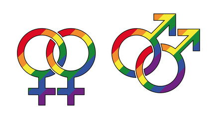 Gay male and lesbian symbol with rainbow colors. Interlocked gender identity symbols. Mars for male, Venus for female homosexuality. Signs in LGBT flag colors. Illustration on white background. Vector