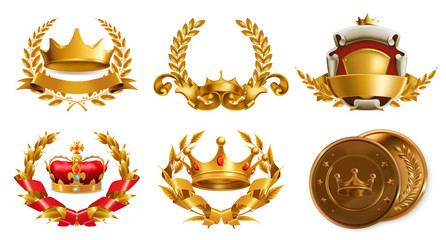 Gold crown and laurel wreath. 3d vector logo