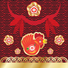 Chinese New Year of the rooster greeting card. Illustration.