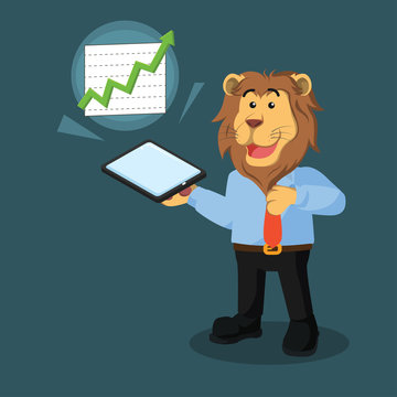 business lion with phone poping out diagram