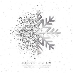 Happy New Year Greeting Card with Silver Glowing Snowflake on white background. Vector Illustration.