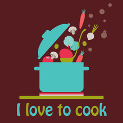 I love to cook vector card