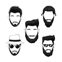 collection hipster men beard hair vector illustration eps 10