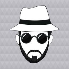 hipster man beard hair hat sunglasses vector illustration eps 10