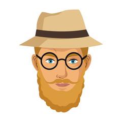 portrait man blond bearded gentle hat glasses blue eyes vector illustration eps 10