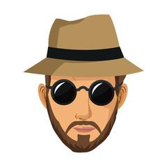 portrait man bearded sunglasses hat vector illustration eps 10