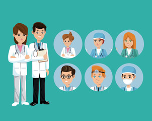 doctor medical team workers staff green background vector illustration eps 10