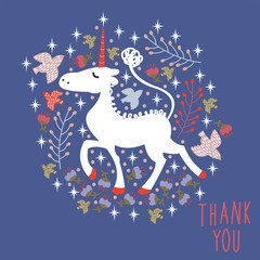 "Cute cartoon unicorn. Vector greeting card. Hand lettering ""Thank you."""
