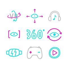 Set of virtual reality icons. Vector hand drawn illustration.
