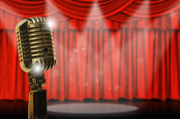 Retro microphone and curtain.