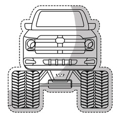 monster truck car frontview icon image vector illustration design