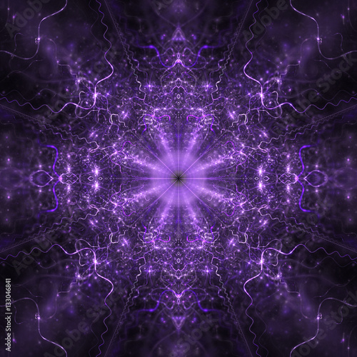 685bd33b5 Symmetric fractal mandala in blue and purple colors. Creative design for  wallpapers or textile. Digital art. 3D rendering.