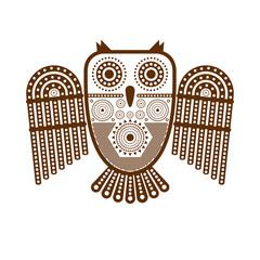 Коричневое графическое стилизованное изолированное изображение совы в племенном стиле.