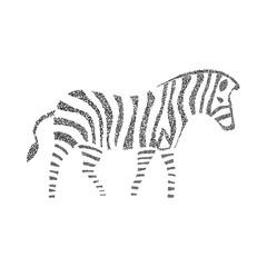 Zebra silhouette on the white striped circle
