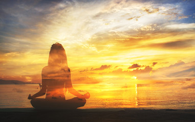 serenity and yoga practicing at sunset, meditation.Twilight in Thailand