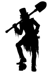Silhouette Gravedigger with a shovel, Illustration gravedigger in victorian ragged clothes and top-hut. He leans on a skull