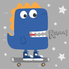 cool cartoon dinosaur skating