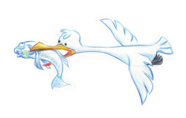 Seagull flying cartoon character hand drawn pencil sketch on paper