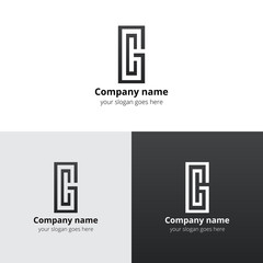 G and C letter geometric logo., icon with gradient grey-black trend color. Minimalism and  flat vector symbol design template.