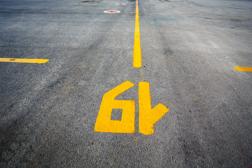 Gate layout on the asphalt in airport terminal