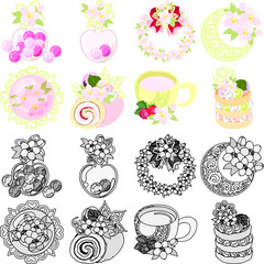 The cute icons of cherry blossom such as candy and wreath and jewel and roll and hot drink and pancake