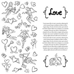 ,Cover with hand drawn isolated symbols of Valentine's Day, love, feelings, relationships, wedding