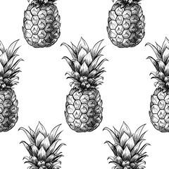 Vector pineapples hand drawn sketch.  Vector seamless pattern.  Vintage style