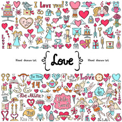 Vector set with hand drawn isolated colored doodles on the  theme of love. Symbols of Valentine's Day