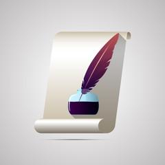 Векторная иллюстрация иконка простой символ плоский для веб Ink набор чернильница перо пергамент