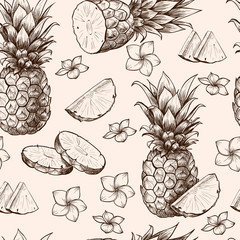 Vector pineapples hand drawn sketch with flowers.  Vector seamless pattern.  Vintage style