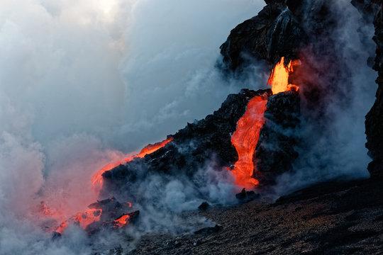 Kilauea Lava Flow entering the Pacific