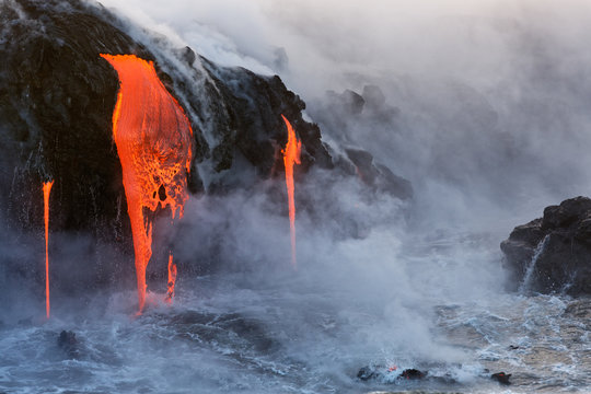 Molten Lava dripping into the ocean