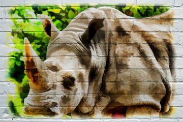 Street art. Rhinocéros