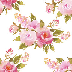Abstract pink roses flower watercolor seamless pattern. Bohemian
