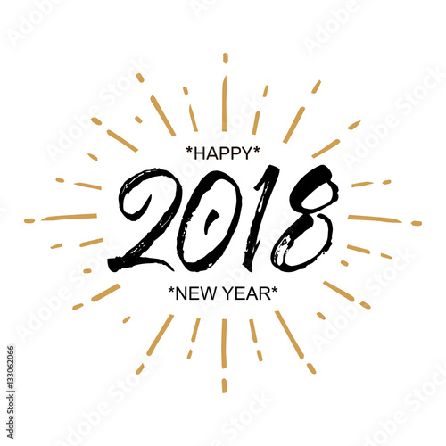 2018 Happy New Year. Beautiful greeting card calligraphy black text ...