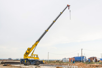 Mobile crane at construction site