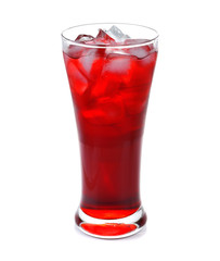 A glass of red soda with ice isolated on white