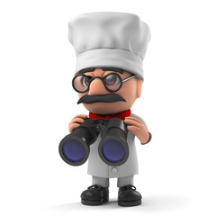 3d Friendly Italian chef with a pair of binoculars