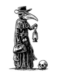 Plague, doctor with bird mask, suitcase, lantern, garlic and hat. Engraving