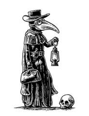 Plague, doctor with bird mask, suitcase, lantern, garlic and hat. Engraving