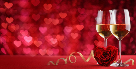 Celebration with wine and rose