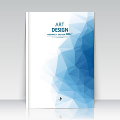 Abstract composition. Blue polygonal texture. Triangle part construction. Brochure title sheet. Creative figure icon. Sapphire diamond facet. Crystal glass surface. Transparent banner form. Flyer font