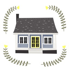 Cartoon house. Vector. Isolated on a white background.
