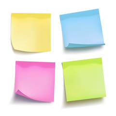 Set of color sheets of note papers. Four sticky notes. Vector