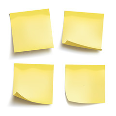 Set of yellow sheets of note papers. Four sticky notes. Vector