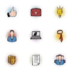 Company icons set, pop-art style