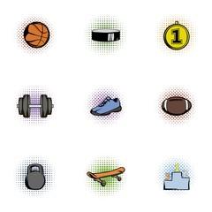 Training icons set, pop-art style