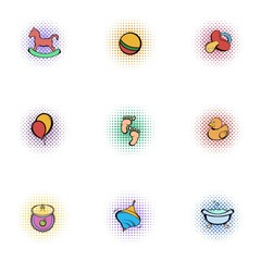 Things for baby icons set, pop-art style