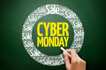 Cyber Monday word cloud collage, business concept on blackboard