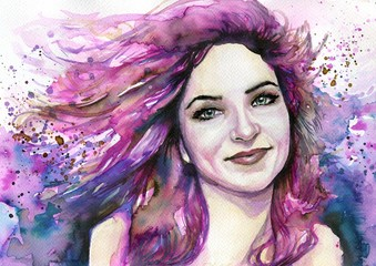 Aluminium Prints Painterly Inspiration abstract watercolor illustration depicting a portrait of a woman